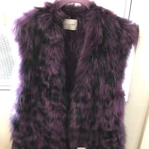 Yves Salomon Purple Blk Tiger Print Fox Fur Gilet